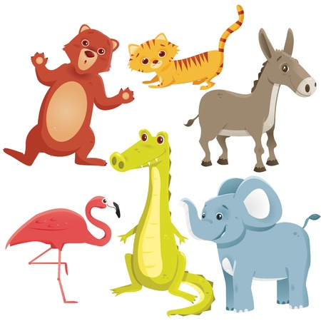 Cartoon animals, vector illustration Vector