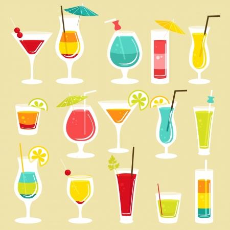 coctel de frutas: Juego de c�cteles, la ilustraci�n Vectores