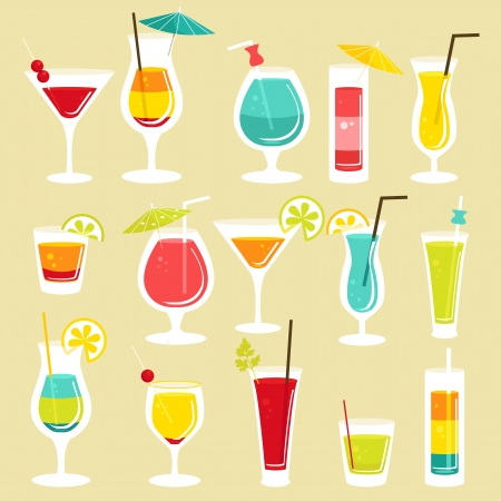 cocktail glasses: Set of cocktails, illustration