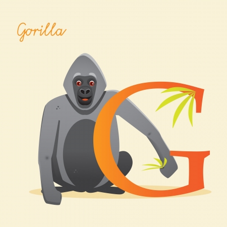 Animal alphabet with gorilla,  vector illustration Vector