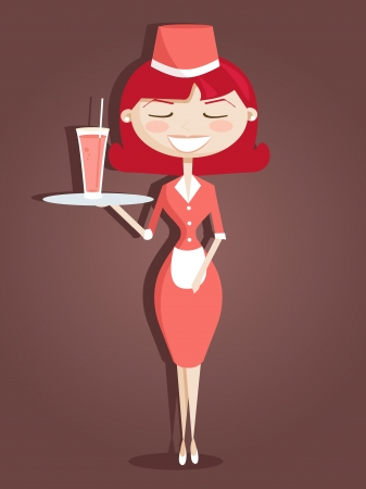 Retro cartoon waitress, vector illustration Illustration
