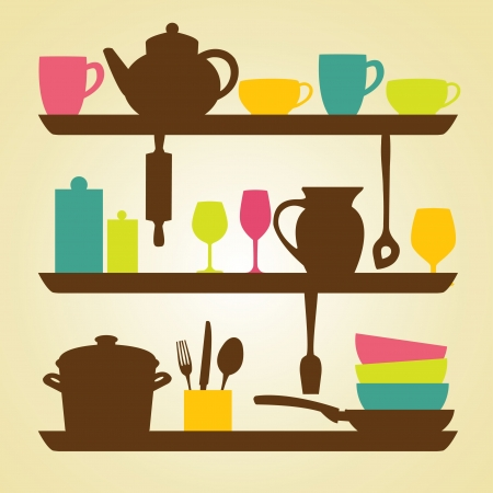 Kitchen  icons, vector illustration Vector