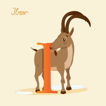 Animal alphabet with ibex,  vector illustration Vector
