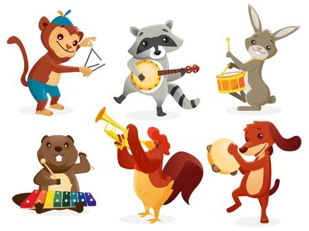 pandero: Los animales que juegan Instrumentos, ilustración vectorial
