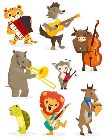 harmonica: Animals playing intruments, vector illustration