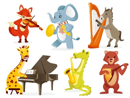 cymbals: Animals playing intruments, vector illustration