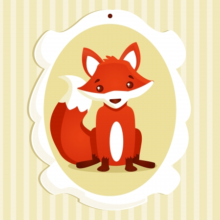 Background with fox, vector illustration