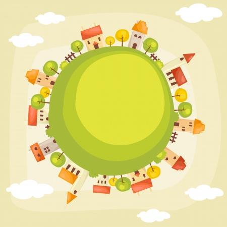 global village: Earth background, vector illustration Illustration