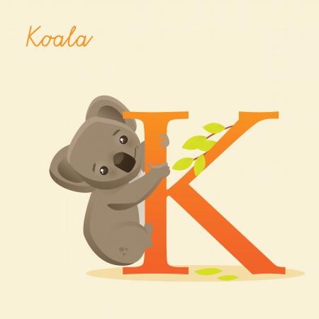 koala: Animal alfabeto con el koala, ilustración vectorial
