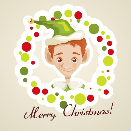 Cute elf christmas card, vector illustration Vector