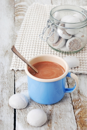 Hot chocolate with cookies on wooden table photo