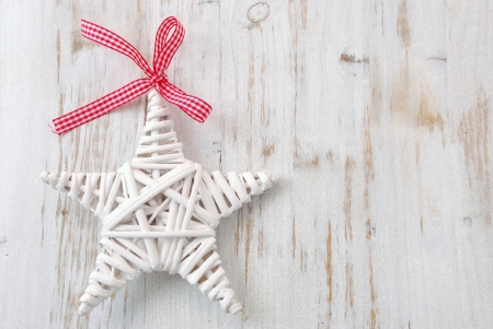 Christmas decoration on  white wooden background Stock Photo - 16847386