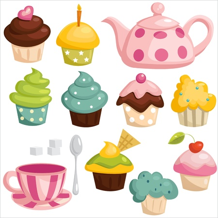 cupcake illustration: Tea set and cupcakes