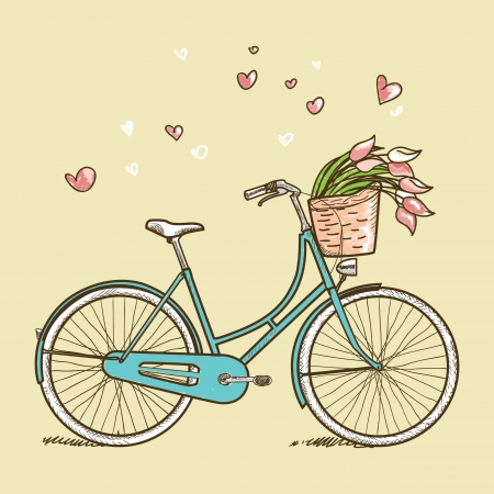 vintage woman: Vintage bicycle with flowers, illustration Illustration