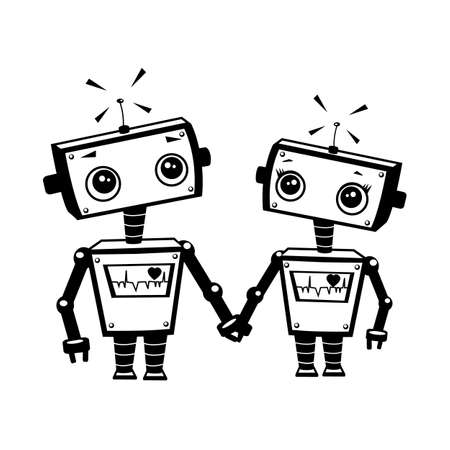 robot girl: Robots in love, illustration