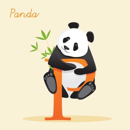 Animal alfabeto con la ilustración de panda