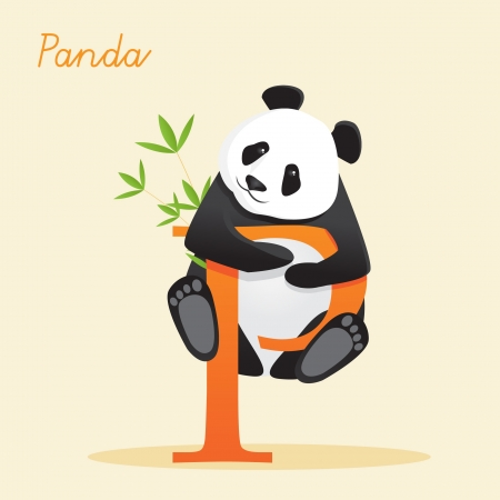 Animal alphabet with panda illustration Vector