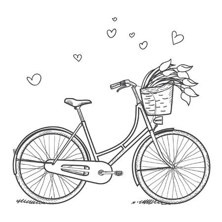 pink bike:  Vintage bicycle with flowers