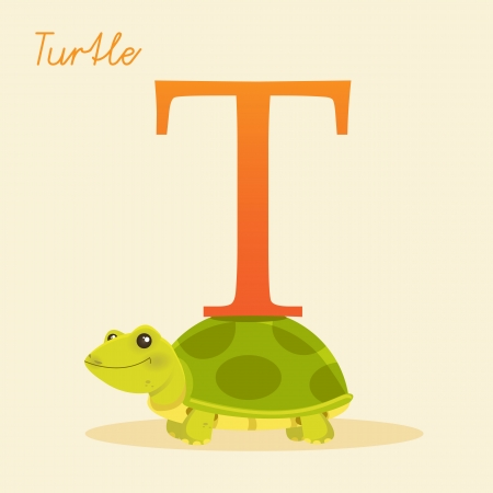 Animal alphabet with turtle illustration Vector