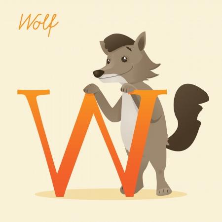 Animal alphabet with wolf illustration Vector