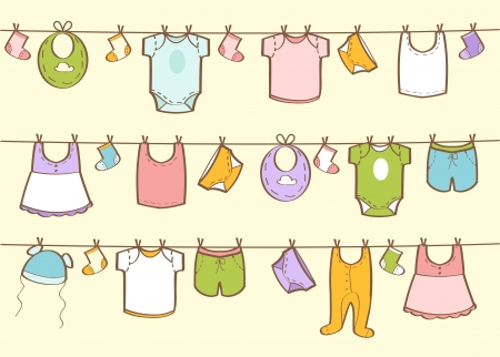 Cute hand drawn baby clothes, vector illustration Illustration