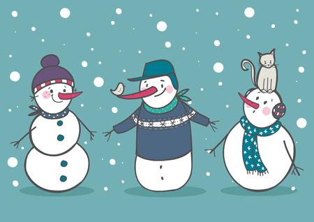 Set of 3 cute snowman, part 2 vector illustration Vector