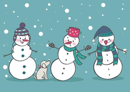snowman hat: Set of 3 snowman, part1 vector illustration Illustration