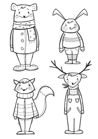 Hand drawn  animals in clothes, isolated vector illustration Vector
