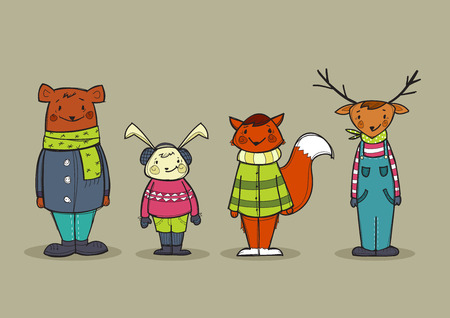 Cute animals in clothes, vector illustration Vector