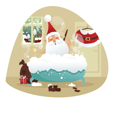 bubble bath: Santa taking a bath, vector illustration