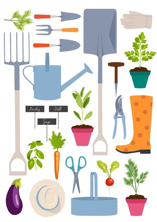 wellingtons: Set of gardening tools, vector illustration