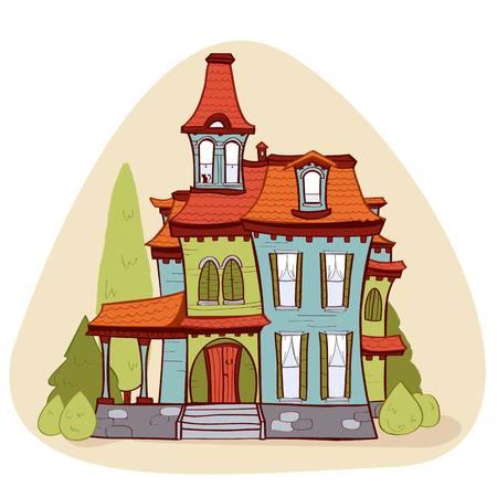 puertas antiguas: linda casa estilo de dibujos animados, ilustración vectorial Vectores