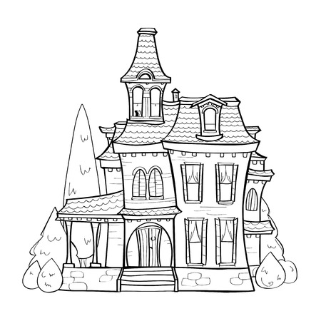 Cute black and white house, vector illustration