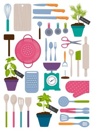 attrezzi cucina set di strumenti di cucina illustrazione vettoriale