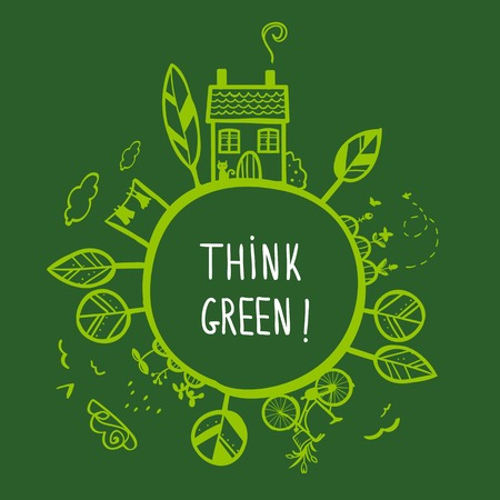 think: Think green background, vector illustration