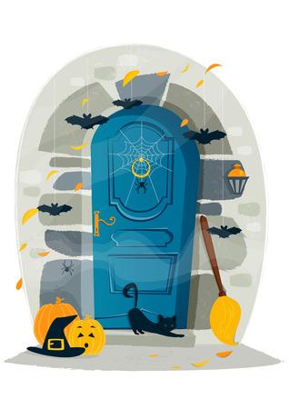 spider cartoon: Halloween door, vector illustration