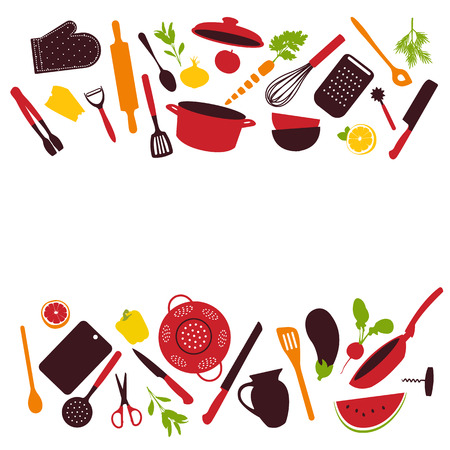 Kitchen tools background isolated, vector illustration