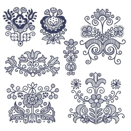 Floral elementos folklóricos aislado, ilustración vectorial