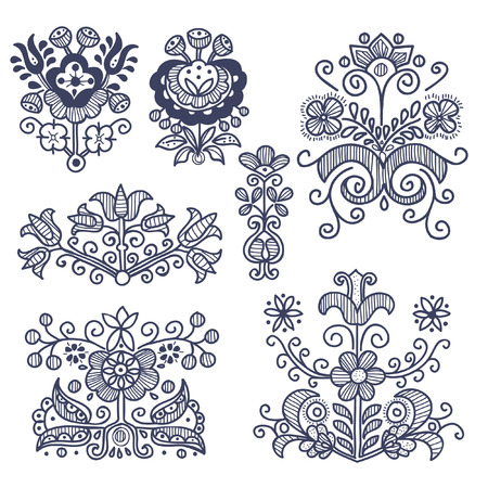 hungarian: Floral folkloric elements isolated, vector illustration Illustration