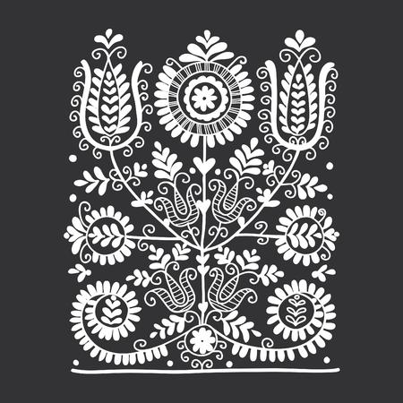 Floral folk ornament, vector illustration