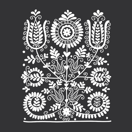 Floral folk ornament, vector illustration