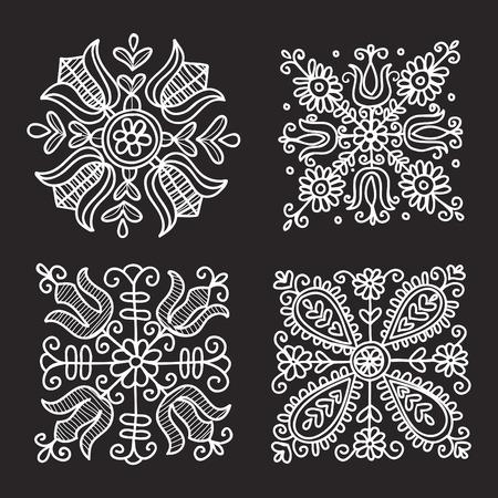 folk: Rectangular floral folk ornament  vector illustration