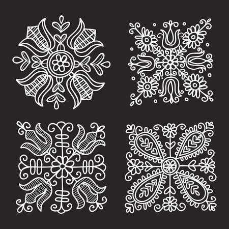 Rectangular floral folk ornament  vector illustration