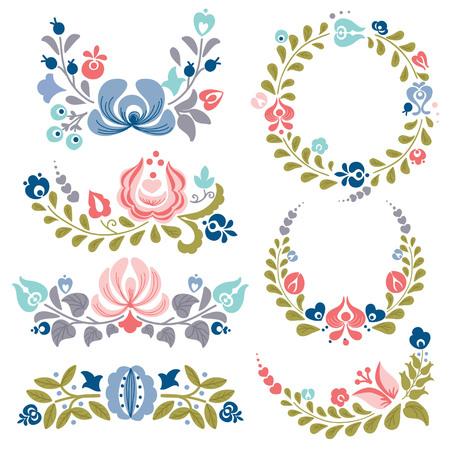 adornos y cuadros de flores, ilustración vectorial