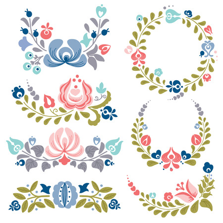 Floral ornaments and frames,  vector illustration Illustration