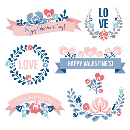 Valentines day floral elements set, vector illustration