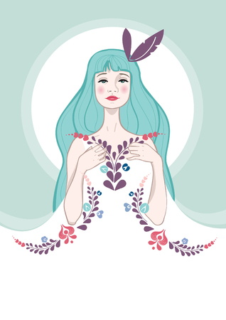 pastel color: Beautiful girl, with flowers on her dress, vector illustration
