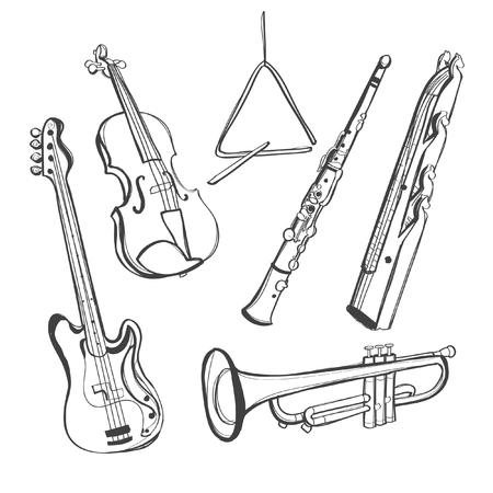 clarinete: instrumentos hechos a mano alzada