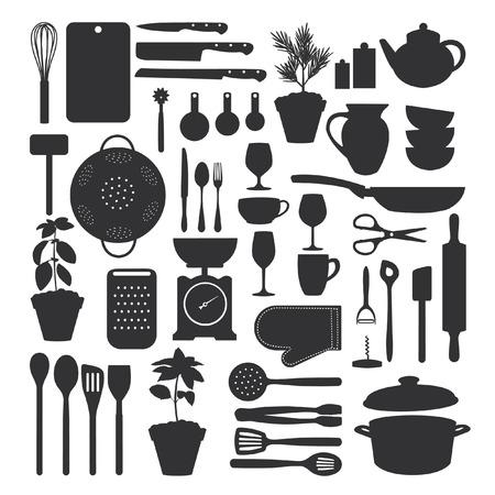 strainer: Kitchen tool set isolated, vector illustration