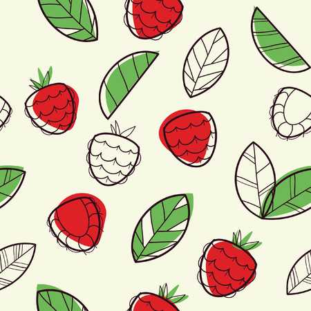 red happiness: Raspberry seamless pattern, vector illustration